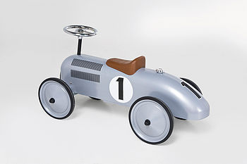 Silver Retro Toy Racing Car