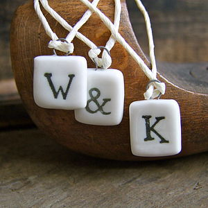 Mini Porcelain Letters - ribbon & wrap