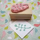 Retro Leaves Hand Carved Rubber Stamp