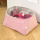 med basket with red striped lining