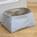 medium basket with wide blue striped lining