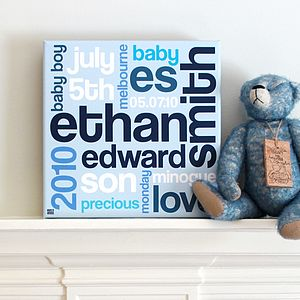 Personalised Children's Word Art Canvas - family & home