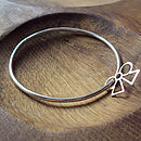 Silver Bangle With Bow Charm