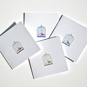 Caged Bird Notelet Set