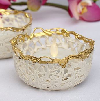 Gold Lustre Porcelain Tea Light Holder