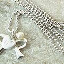 Personalised Silver Bow Necklace
