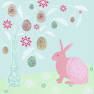 Easter Bunny And The Ornamental Egg Tree Card