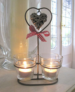 Triple Glass/Metal Votive With Hanging Heart - table decorations