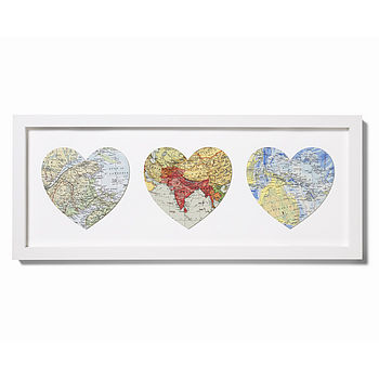 Trio Bespoke Location Map Hearts Large
