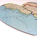 Vintage Map Hearts Large