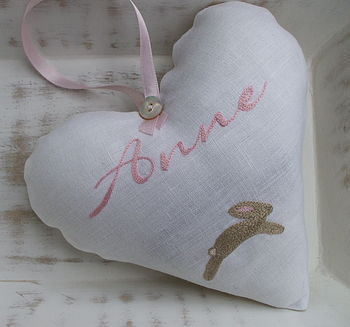 Personalised Hand Embroidered Bunny Heart