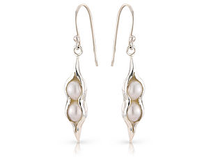 Silver Peapod Earrings - earrings