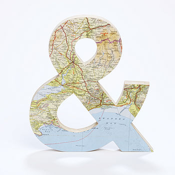 Vintage Map Giant Ampersand