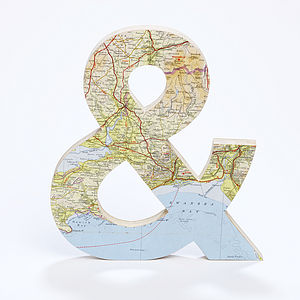 Vintage Map Ampersand - personalised