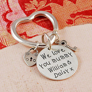 Personalised Silver Heart Charms Key Ring - women's accessories