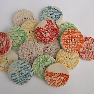Five Porcelain Round Lace Buttons - sewing & knitting