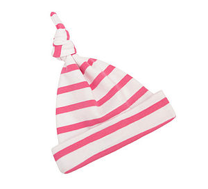 Coral Pink Breton Striped Baby Hat