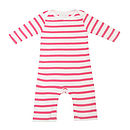 Coral Pink/ White Breton Striped All In One
