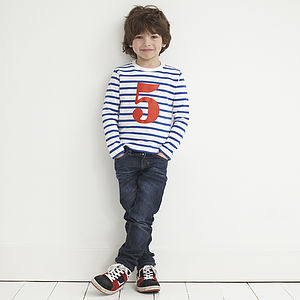 Age/Number Kids T-Shirt French Breton