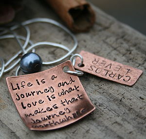 Personalised Copper Love Note Necklace - charm jewellery