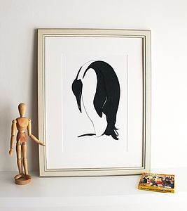 'Snoozing Penguin' Hand Signed Print - children's room