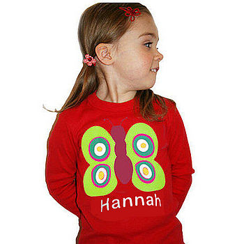 personalised red butterfly T-shirt