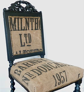 Vintage 1957 Grain Sack Chair - furniture