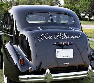 Wedding Vehicle Decals - outdoor decorations