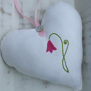 Hand Embroidered Pinkbell Lavender Heart