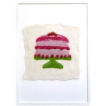 Hand Felted I Like Cake Wall Art