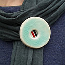Handmade Porcelain Brooch With Ribbon Detail