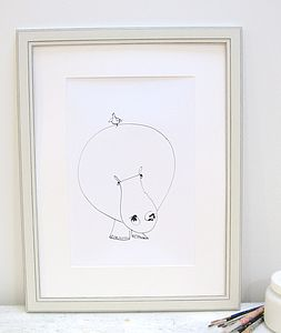 'Hippo And Bird' Artist Signed Print