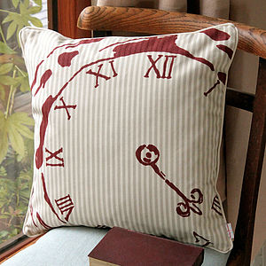 Numeral Centre Pocket Watch Cushion - patterned cushions