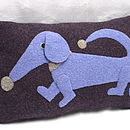 Purple and lilac dachsund cushion