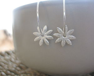 Silver Daisy Hoop Earrings - earrings
