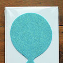 Blue Glitter Balloon Birthday Card