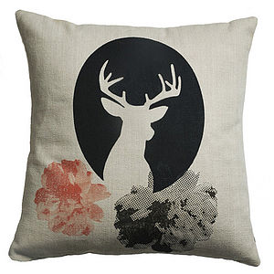 Cameos Deer Linen Cushion - cushions