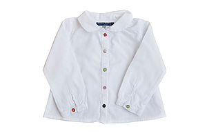 White Shirt With Multicoloured Shell Buttons