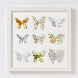 Nine Map Location Butterfly Wall Art