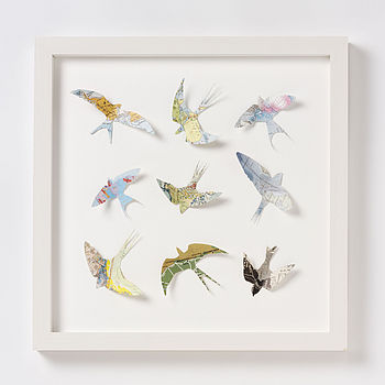 Nine Map Location Bird Wall Art Print