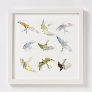 Nine Map Location Bird Wall Art Print - mixed media & collage