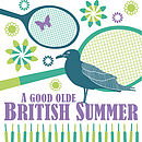 British Summertime Print - Green and Purple