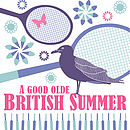 British Summertime Print - Blue and pink