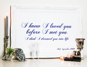 Personalised Quote, Vows Or Lyrics Artwork - room decorations