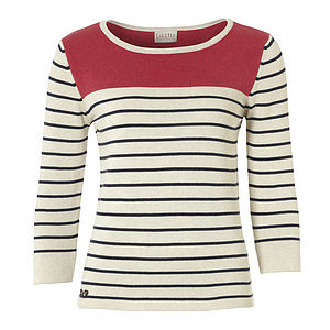 Women's Coral Neck Stripy Top - women's fashion