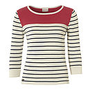 Women's Coral Neck Stripy Top