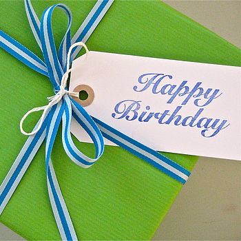Set Of Five 'Happy Birthday' Gift Tags