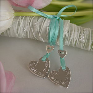 Personalised Silver Wedding Bouquet Charms - something blue