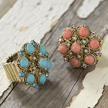 Turquoise And Coral Cocktail Rings