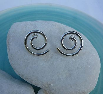 Silver Chunky Spiral Earrings
